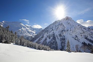 Winter landscape at Hintersteiner Tal, near Bad Hindelang, view to Giebel, Allgaeu, Bavaria, Germany