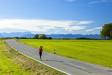 Woman jogging along a road, Munsing, Bavaria, Germany