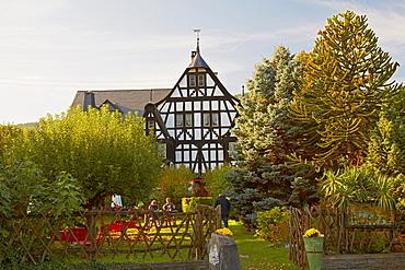 Dreigiebelhaus at Kroev, Mosel, Rhineland-Palatinate, Germany, Europe