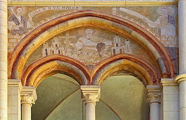Fresco inside Limburg cathedral, St. Georgs Cathedral, Limburg, Westerwald, Hesse, Germany, Europe