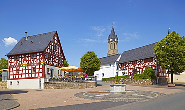 Half-timbered house in Elz with Café, Westerwald, Hesse, Germany, Europe