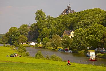 River Lahn near Diez, Oranienstein castle in the background, Diez, Westerwald, Rhineland-Palatinate, Germany, Europe
