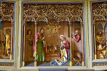 Altar in St. Johannes der Taeufer church, 13th century, Waldbrunn - Lahr, Westerwald, Hesse, Germany, Europe