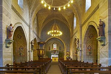 St. Johannes der Taeufer church, 13th century, Waldbrunn - Lahr, Westerwald, Hesse, Germany, Europe