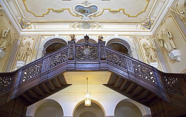 Staircase in Abtei Marienstatt, 13th century, Nistertal, Streithausen, Westerwald, Rhineland-Palatinate, Germany, Europe