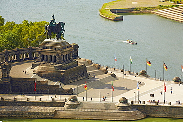 Deutsches Eck with equestrian statue of Wilhelm I., Koblenz, Confluence of Rhine and Mosel, Rhineland-Palatinate, Germany, Europe