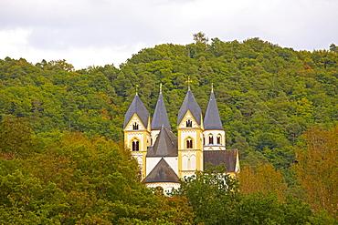 Arnstein abbey above the river Lahn near Nassau, Westerwald, Rhineland-Palatinate, Germany, Europe
