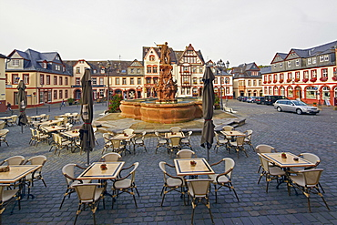 Market square at Weilburg on the Lahn, Taunus, Westerwald, Hesse, Germany, Europe