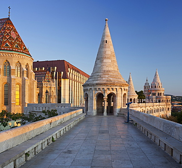 Way to one of the towers, Fishermans Bastion, Matthias Church, Buda, Budapest, Hungary