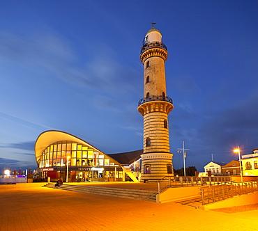 Warnemuende lighthouse and teapot at night, Warnemuende, Mecklenburg-Vorpommern, Germany