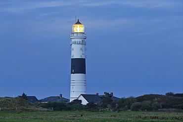 Kampen lighthouse in the evening light, Sylt, Schleswig-Holstein, Germany