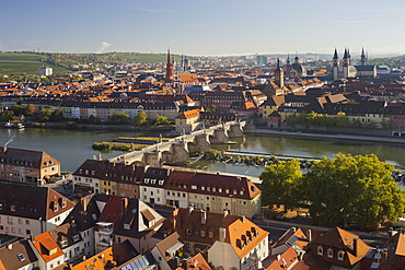 View from Marienberg fortress over Wuerzburg, Alte Mainbruecke bridge and river Main, Marienkapelle, Neumuenster Kollegiatstift, Sankt Kilian's cathedral, Wuerzburg, Bavaria, Germany
