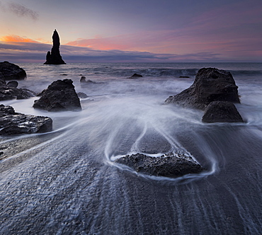 Basalt sea stacks, Reynisdrangar, Reynir, South Iceland, Iceland