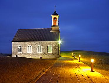 Hvalneskirkja church in the evening light, Reykjanes, Island