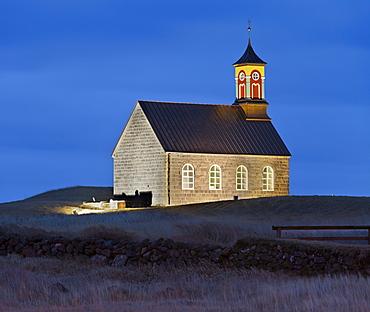 Hvalneskirkja church at dusk, Reykjanes, Island