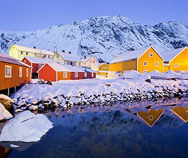 Houses in Nusfjord in the evening, Flakstadoya, Lofoten, Nordland, Norway