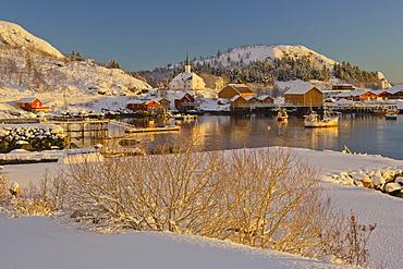 Village of Moskenes in Winter, Moskenesoya, Lofoten, Nordland, Norway