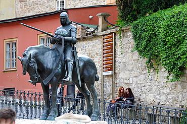 Stone gate with equestrian monument, upper town, Zagreb, Croatia