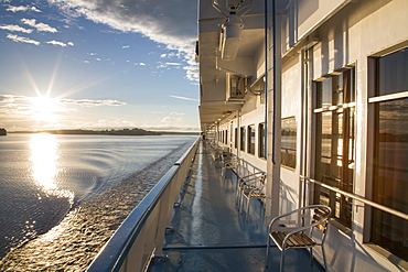 Deck of river cruise ship at sunset, Volga-Baltic Canal, Russia, Europe