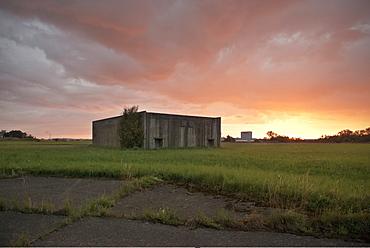 Sunset at a bunker, Fliegerhorst - former military airbase, Leipheim near Guenzburg, Swabia, Bavaria, Germany
