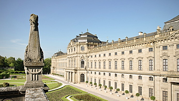 Royal gardens and Residenz, baroque era, Wuerzburg, Franconia, Bavaria, Germany, UNESCO