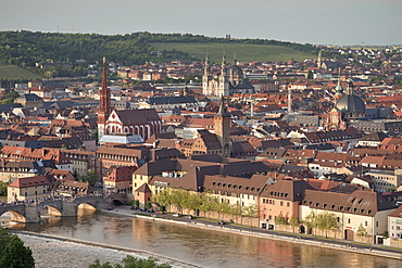 View from Fortress towards the old Main stone bridge, St. Mary Chapel and cathedral, Wuerzburg, Franconia, Bavaria, Germany