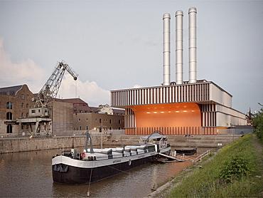 Heating plant, Kulturspeicher and Arte Noah art boat, Wuerzburg, Franconia, Bavaria, Germany, architect Brueckner and Brueckner