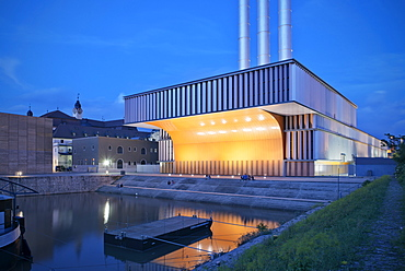 Heating plant at night, Wuerzburg, Franconia, Bavaria, Germany, architect Brueckner and Brueckner