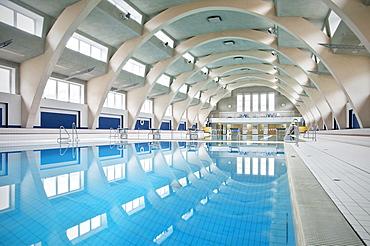Indoor swimming pool in Heslach, Stuttgart, Baden-Wuerttemberg, Germany