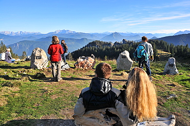 View from the Sonnenalp under the Kampenwand, Chiemgau, Upper Bavaria, Bavaria, Germany
