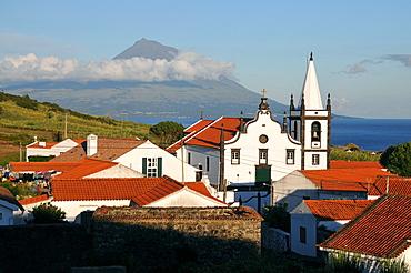 Castelo Branco with Pico vulcano, South coast, Island of Faial, Azores, Portugal
