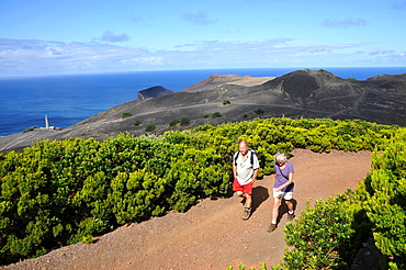 Hiking at Cabeco do Canto near Capelinhos, West part of the Island of Faial, Azores, Portugal