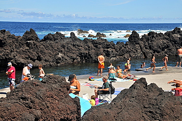 Natural pools near Biscoitos, northcoast, Island of Terceira, Azores, Portugal