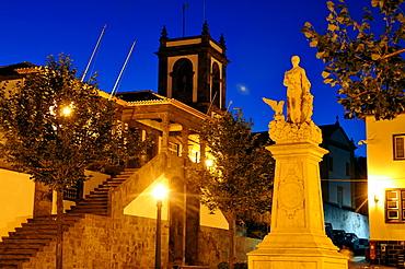 At the town hall with monument, Praia da Vitoria, Island of Terceira, Azores, Portugal