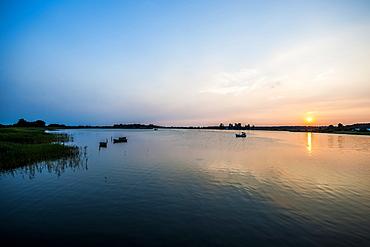 Sunset on the island of Ummanz, island of Ruegen, Mecklenburg-Western Pomerania, Germany