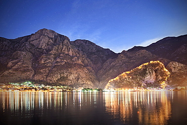 View of the old town and fortification of Kotor at night, Adriatic coastline, Montenegro, Western Balkan, Europe, UNESCO