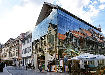 Office Building on Benedikt Square with reflection, Erfurt, Thuringia, Germany