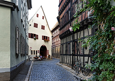 Loft houses in the Waagegasse, Erfurt, Thuringia, Germany