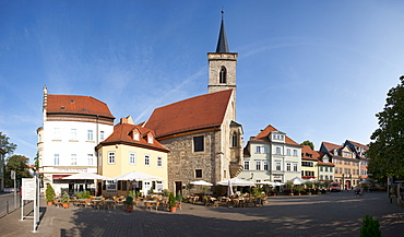 Wenigemarkt with the Aegidien Church, Erfurt, Thuringia, Germany