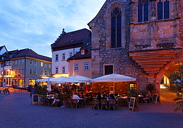 Market square with the Aegidien Church at night, Wenigemarkt, Erfurt, Thuringia, Germany