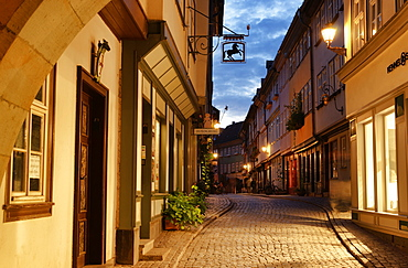 Kraemerbruecke at night, Erfurt, Thuringia, Germany