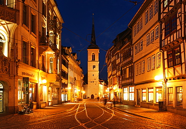 Market Street at night with All Saints Church, Erfurt, Thuringia, Germany