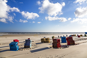 Beach chairs on the beach, Langeoog Island, North Sea, East Frisian Islands, East Frisia, Lower Saxony, Germany, Europe