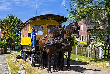 Horse and cart, Langeoog Island, North Sea, East Frisian Islands, East Frisia, Lower Saxony, Germany, Europe