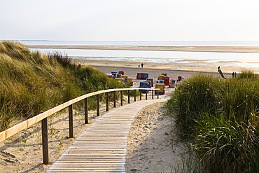 Boardwalk in the dunes to the beach, Langeoog Island, North Sea, East Frisian Islands, East Frisia, Lower Saxony, Germany, Europe