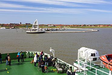 Ferry boat in Juist harbour, Observation Tower, landmark, Juist Island, Nationalpark, North Sea, East Frisian Islands, East Frisia, Lower Saxony, Germany, Europe