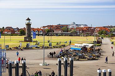 Lighthouse at the harbour, Juist Island, Nationalpark, North Sea, East Frisian Islands, East Frisia, Lower Saxony, Germany, Europe