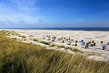 Beach chairs at the beach, Juist Island, North Sea, East Frisian Islands, East Frisia, Lower Saxony, Germany, Europe