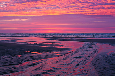 Beach at sunset, tidal channel, Juist Island, Nationalpark, North Sea, East Frisian Islands, National Park, Unesco World Heritage Site, East Frisia, Lower Saxony, Germany, Europe
