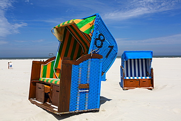 Beach chairs, Juist Island, North Sea, East Frisian Islands, East Frisia, Lower Saxony, Germany, Europe